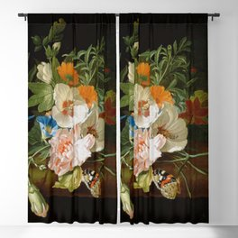 Rachel Ruysch - Posy of flowers, with a red admiral butterfly, on a marble ledge Blackout Curtain
