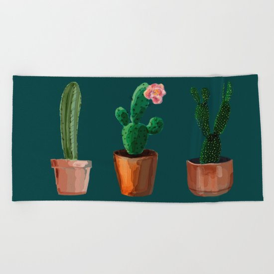 Three Cacti On Green Background Beach Towel
