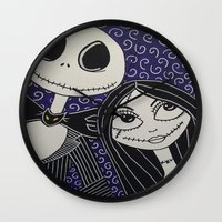 jack skellington Wall Clocks featuring Jack Skellington and Sally by KittyOG