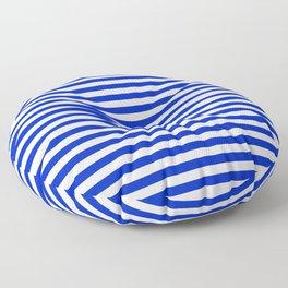 Cobalt Blue and White Thin Horizontal Deck Chair Stripe Floor Pillow