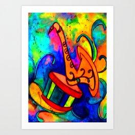 Jazz and Swirls musical heart for music lovers Art Print