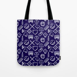Baseball Print Navy Blue and White Tote Bag