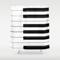 piano Shower Curtains featuring Piano Keys by Brian Raggatt