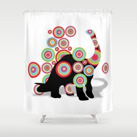 dinosaurs Shower Curtains featuring dinosaurs by mark ashkenazi