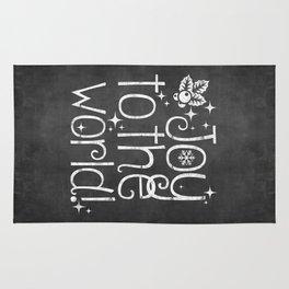Joy to the world chalkboard christmas lettering Rug