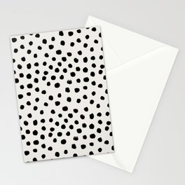 Preppy brushstroke free polka dots black and white spots dots dalmation animal spots design minimal Stationery Cards