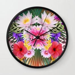 Tropical flowers Wall Clock