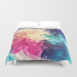 Geometry Triangle Wave Multicolor Mosaic Pattern - (HDR - Low Poly Art) Duvet Cover