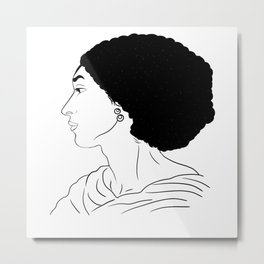 Fanny Eaton black outlines drawing Metal Print