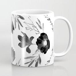 Floral Square Black & White Coffee Mug