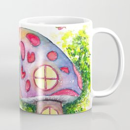 Mushroom House Watercolor Painting Coffee Mug