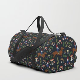 GNOME & DACHSHUND IN THE MUSHROOM FOREST/SOFT BLACK BACKGROND Duffle Bag