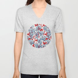 Leaf and Berry Sketch Pattern in Red and Blue Unisex V-Neck