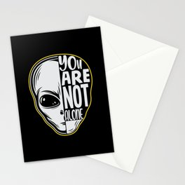 You are Not Alone alien black white design Stationery Cards