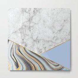 White Marble Blue Marble & Light Blue #368 Metal Print