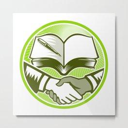 Handshake Book Pen Woodcut Circle Metal Print