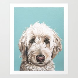 Sweet and Soulful Labradoodle Painting, Labradoodle Artwork, Portrait of a Champagne Labradoodle Art Print