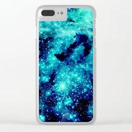 GALAXY. Teal Aqua Stars Clear iPhone Case