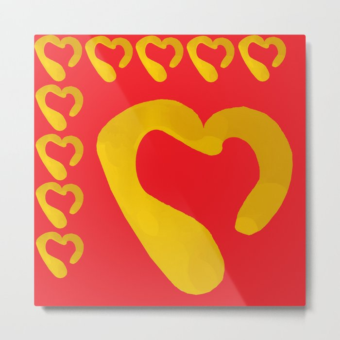 Gold Hearts on Red Metal Print