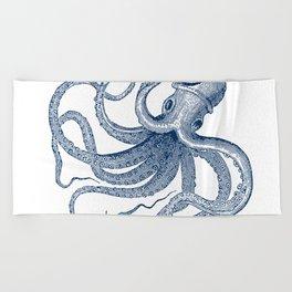 Blue nautical vintage octopus illustration Beach Towel
