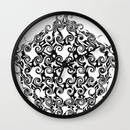 Curlicue Pentagon Black On White Wall Clock
