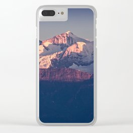 Three Peaks in Violet Sunset Clear iPhone Case