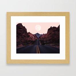 Road Red Moonrise Framed Art Print