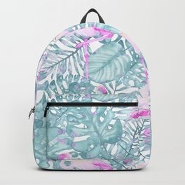 Neon pink green watercolor flamingo tropical leaves Backpack