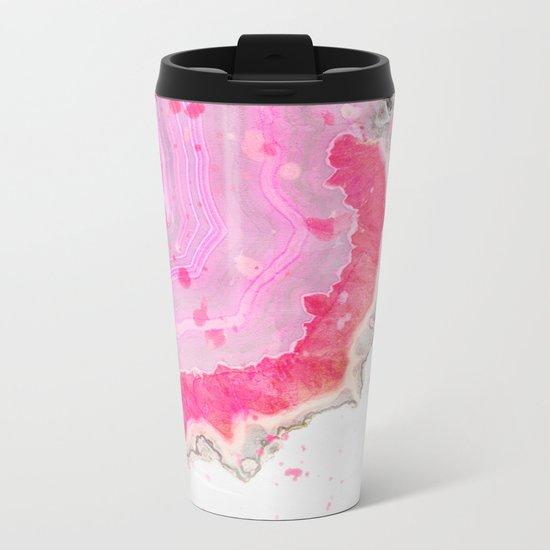 Pink Agate Watercolor Metal Travel Mug
