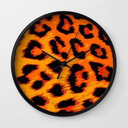 Orange and Red Leopard Spots Wall Clock
