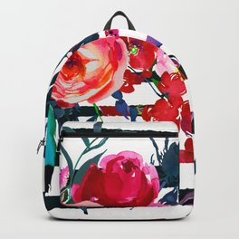 Bohemian pink orange blue black watercolor stripes floral Backpack