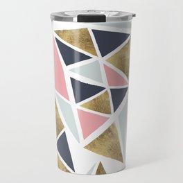 Modern geometrical pink navy blue gold triangles pattern Travel Mug