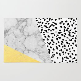 Marble Gold Dots - modern hipster trendy shiny gold foil cell phone case iphone dorm college Rug