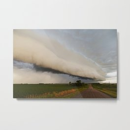 Shelf Cloud Over Country Road 2 Metal Print