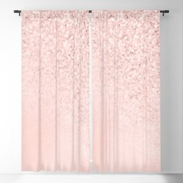 She Sparkles Rose Gold Pastel Light Pink Luxe Blackout Curtain