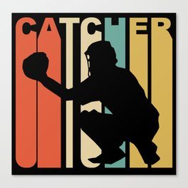Retro 1970's Style Catcher Silhouette Baseball Canvas Print
