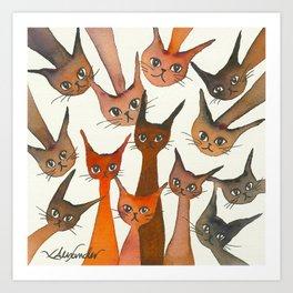 Poughkeepsie Whimsical Cats Art Print