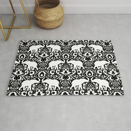 Elephant Damask Black and White Rug