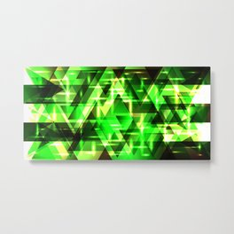 Spring gentle green horizontal strict stripes of sparkling grass triangles. Metal Print
