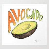 avocado Art Prints featuring Avocado by Ken Coleman