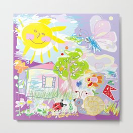 My happy world Doodle for children room Nursery home decor Metal Print