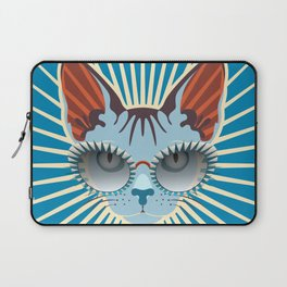 Retro Hipcat & His Sunglasses - Deep Cerulean Sunburst Laptop Sleeve
