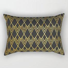 Art Deco Diamond Teardop - Black & Gold Rectangular Pillow