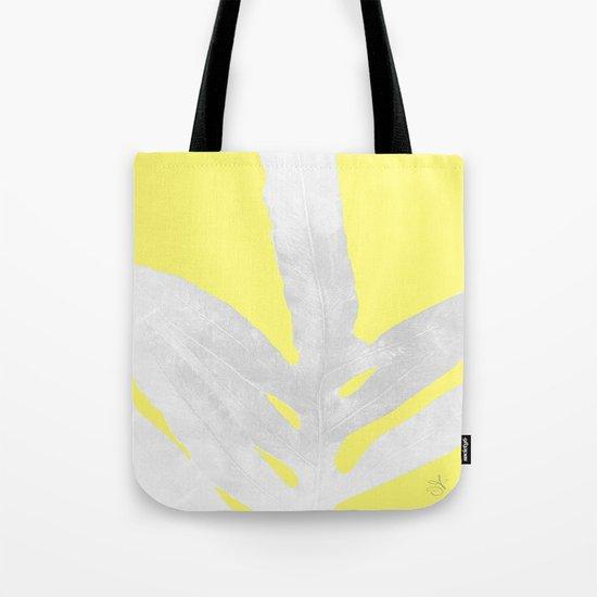 Green Fern on Lemon Yellow Inverted Tote Bag