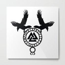 Raven - Valknut Metal Print