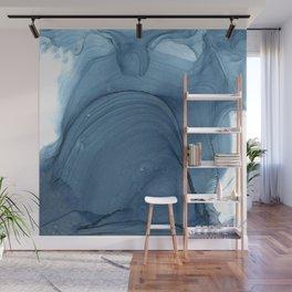 Dusky Blue Calm Abstract Ripples Wall Mural