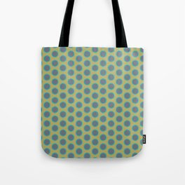 LIMON - grey turquoise dots on chartreuse background Tote Bag