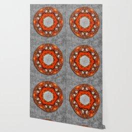 Butterfly wings mandala against bark texture Wallpaper