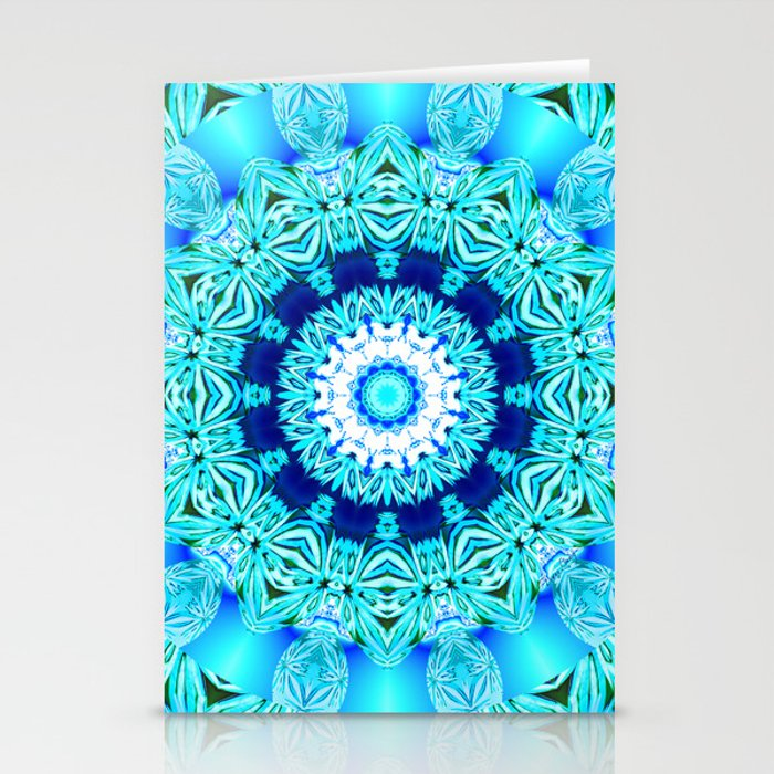 Blue Ice Glass Mandala, Abstract Aqua Lace Stationery Cards