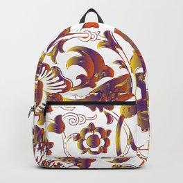 Vintage Colorful Flower Illustration Backpack